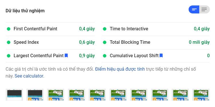 Google PageSpeed Insights website ytuongweb.net