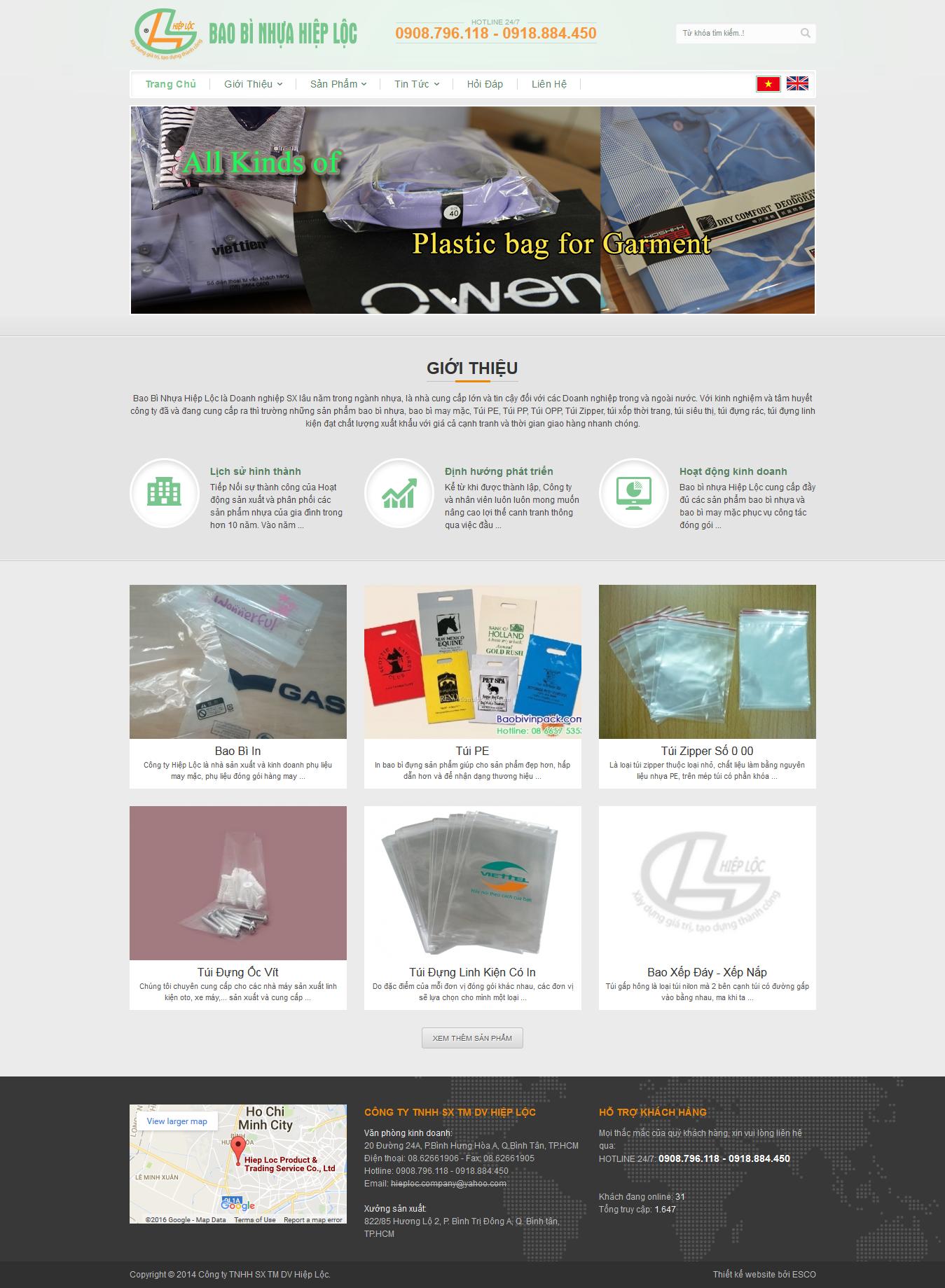 thiết kế website bao bi nhựa Baobinhuahieploc.com