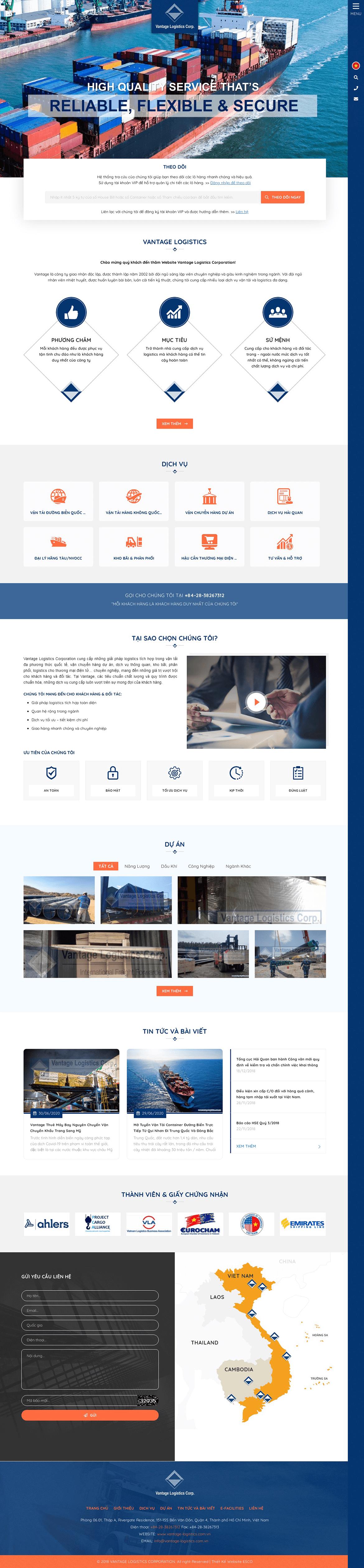 Thiết kế website công ty vantage-logistics.com.vn