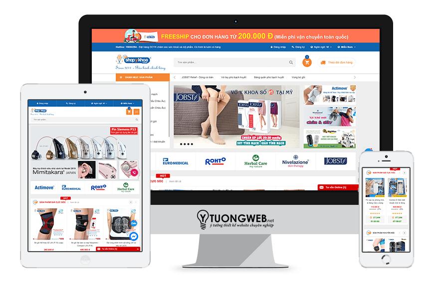 Thiết kế website responsive dụng cụ y khoa - shopykhoa.com