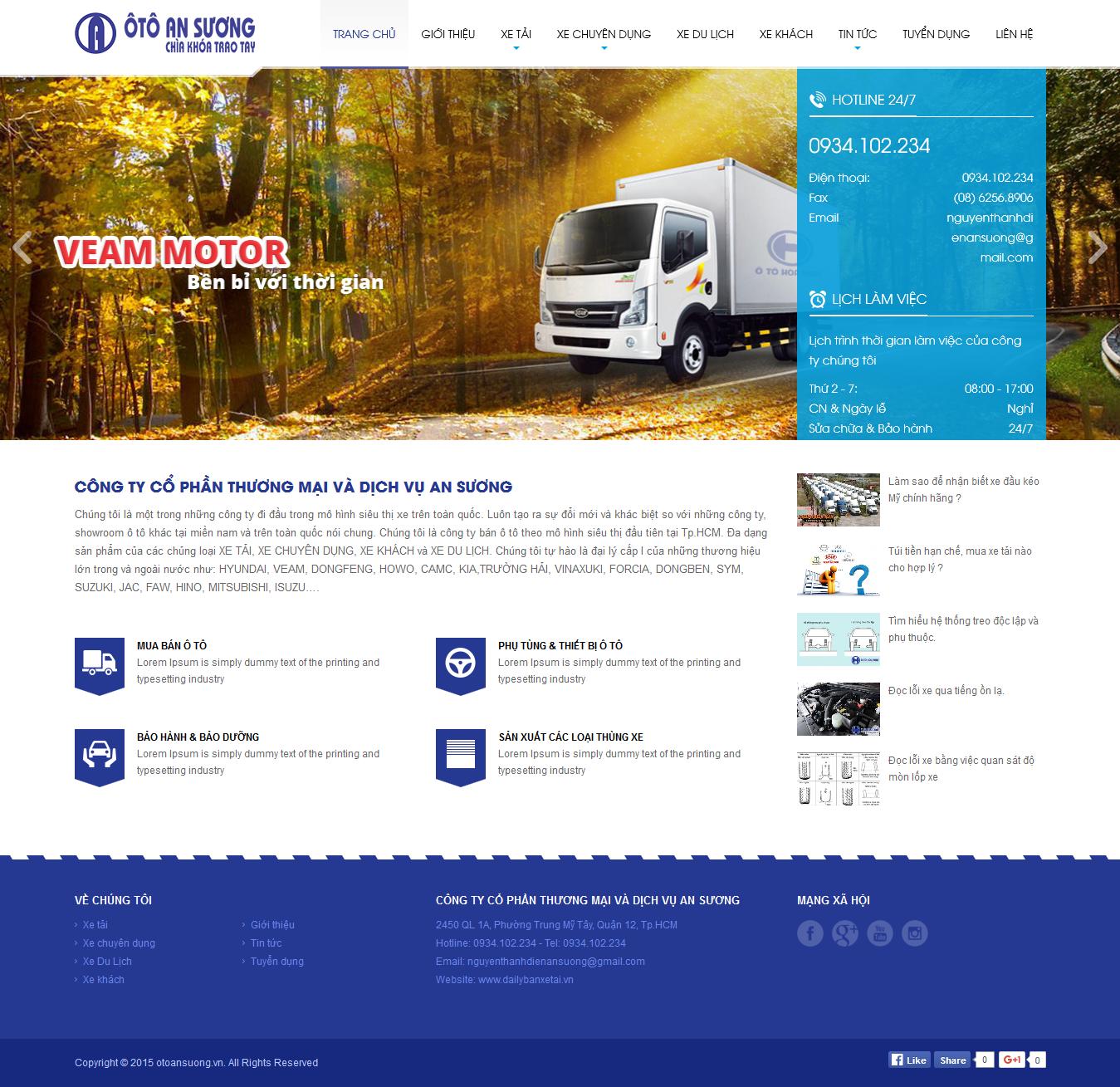 Thiết kế website mua bán ô tô Dailybanxetai.vn