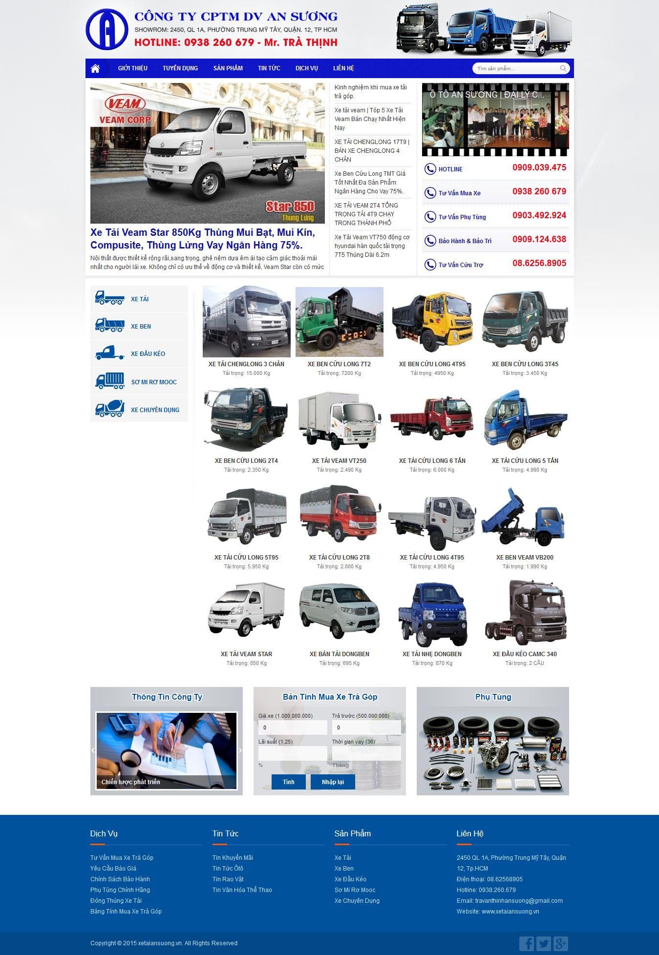 Thiết kế website mua bán ôtô xetaiansuong.vn