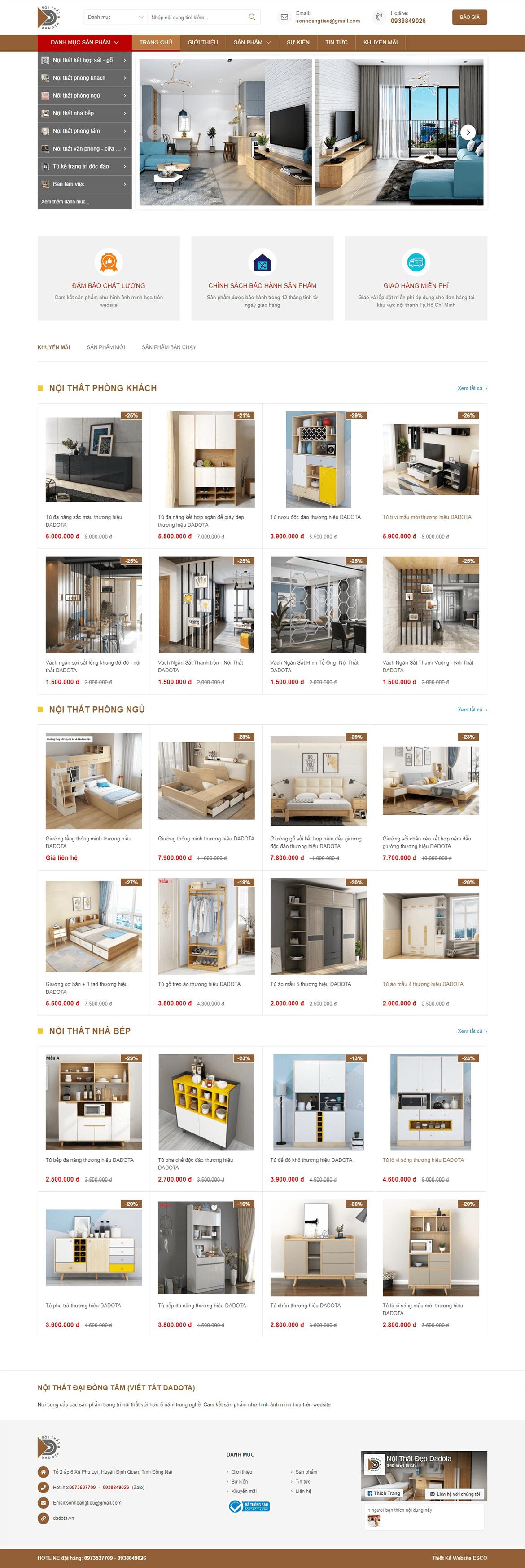 Thiết kế website nội thất dadota.vn