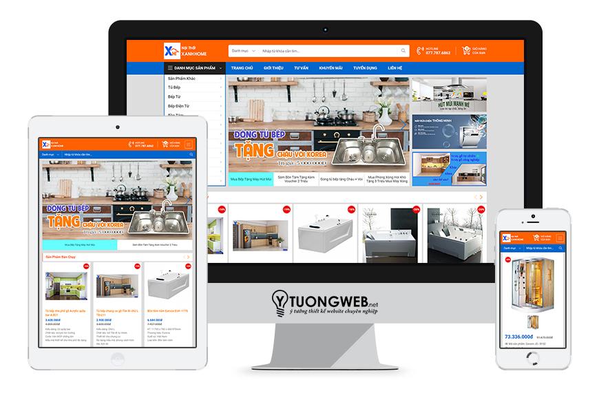 Thiết kế website responsive nội thất noithatxanhhome.com