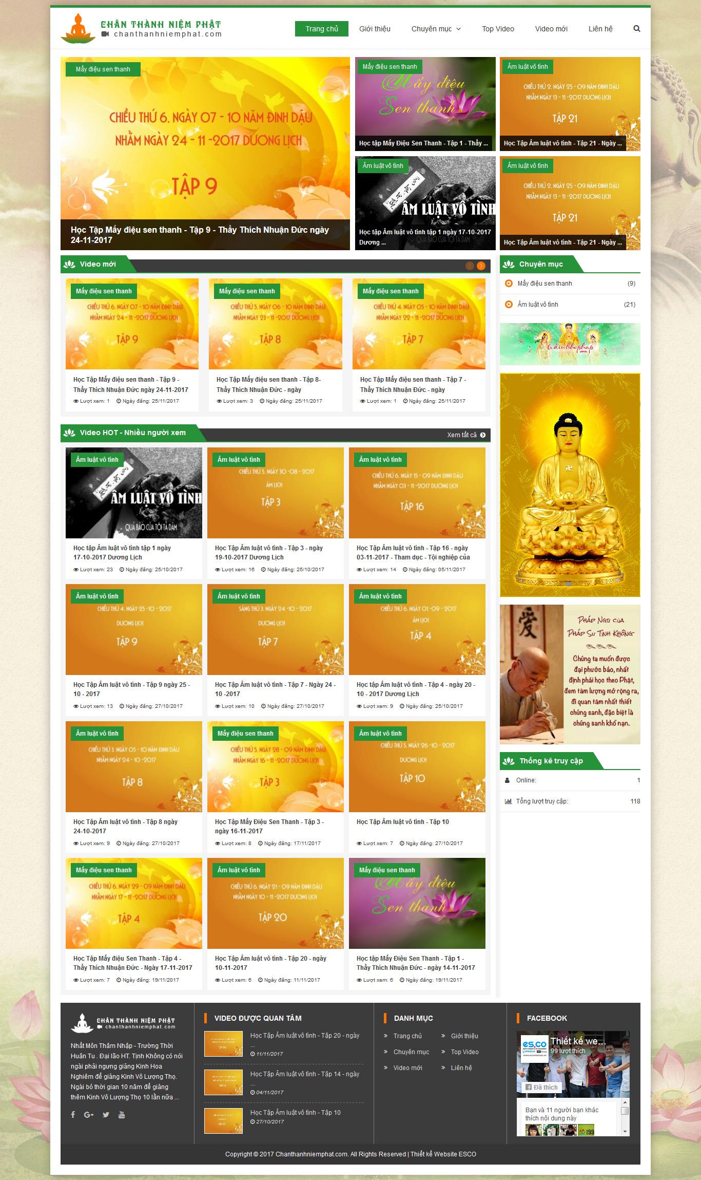 Thiết kế website phật giáo - Chanthanhniemphat.com