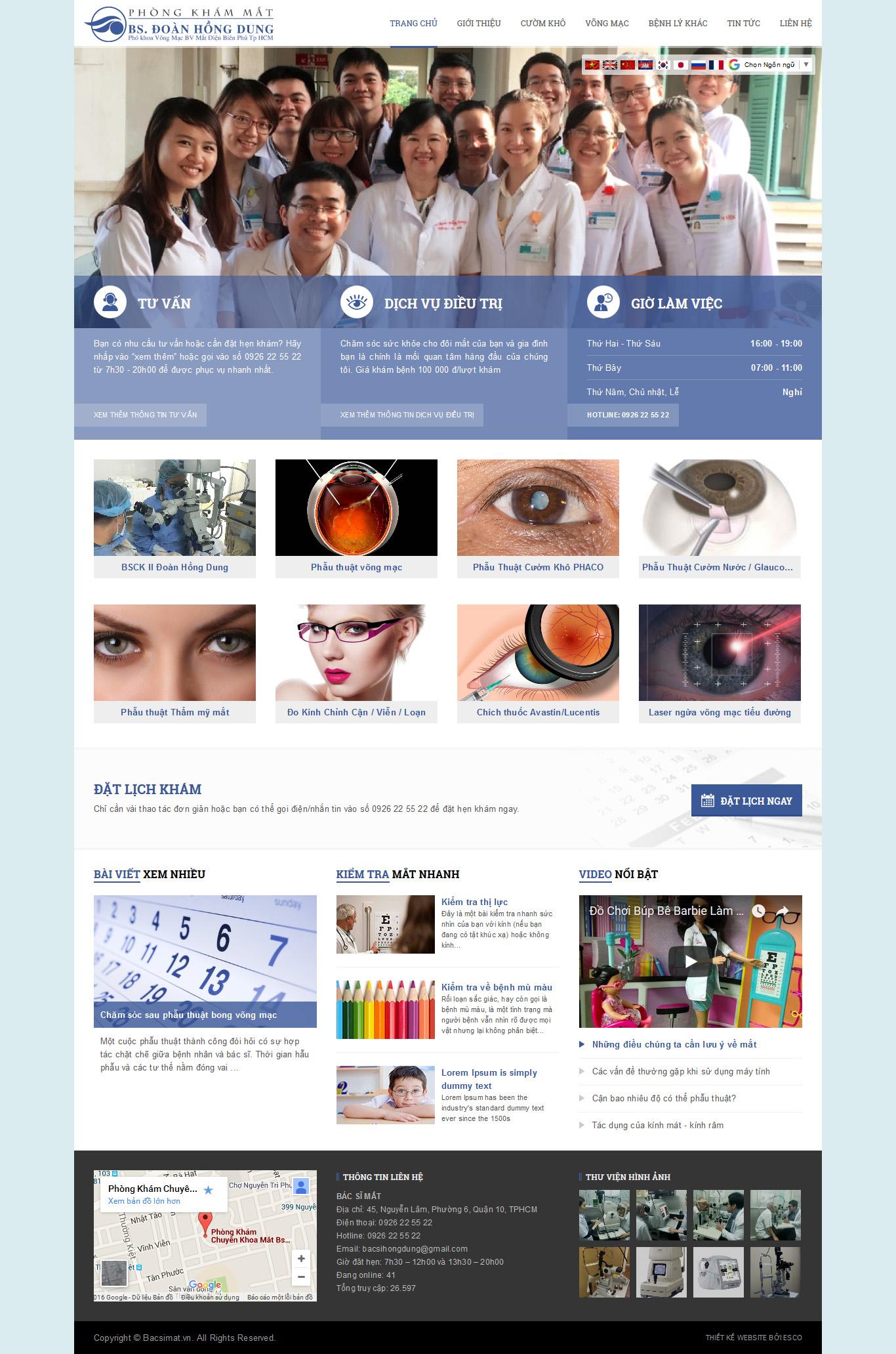 thiết kế website phòng khám mắt - Bacsimat.vn