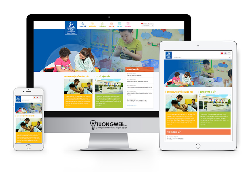 Thiết kế website reponsive trường học mầm non - Iss.vn