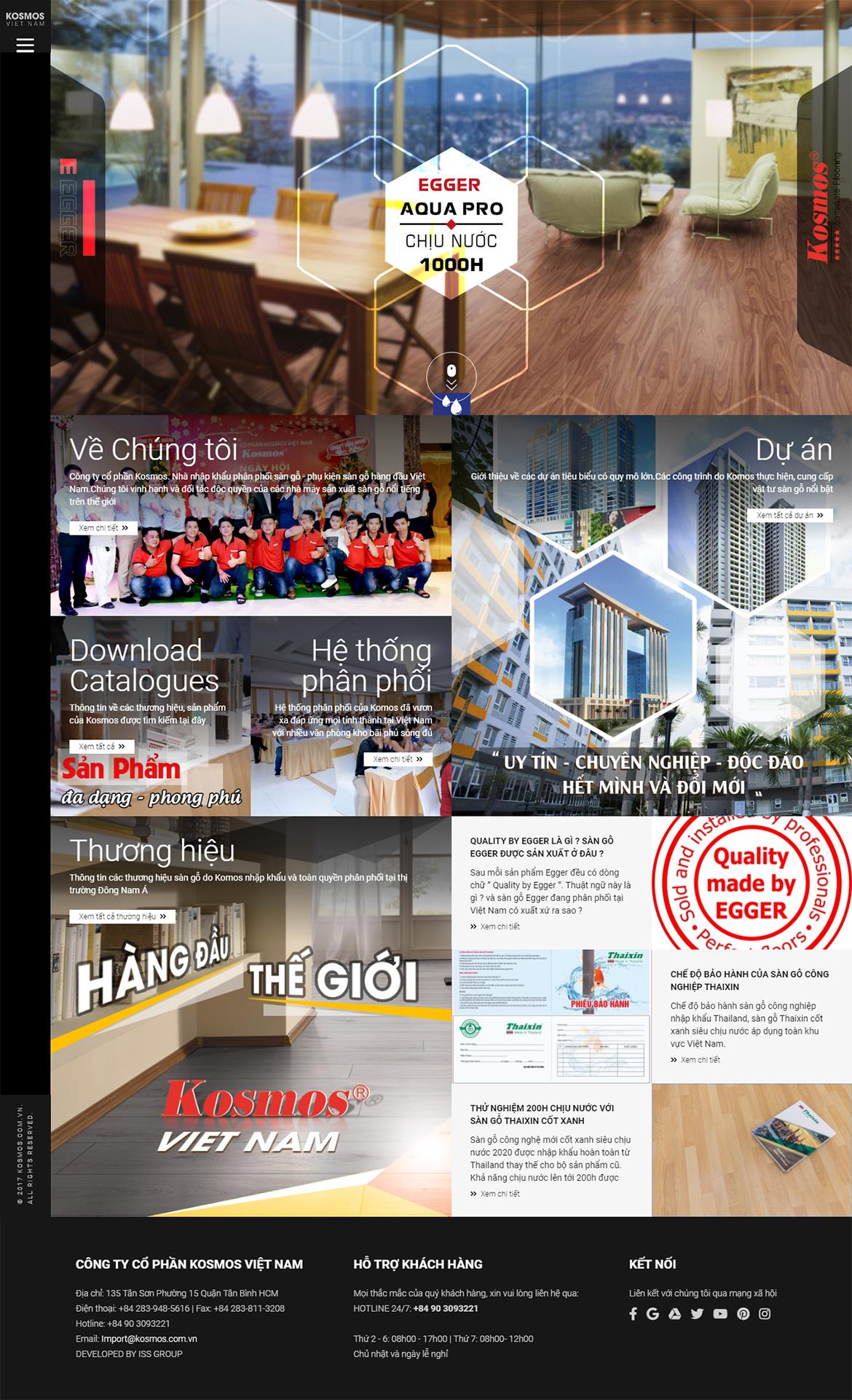 Thiết kế website sàn gỗ kosmos.com.vn