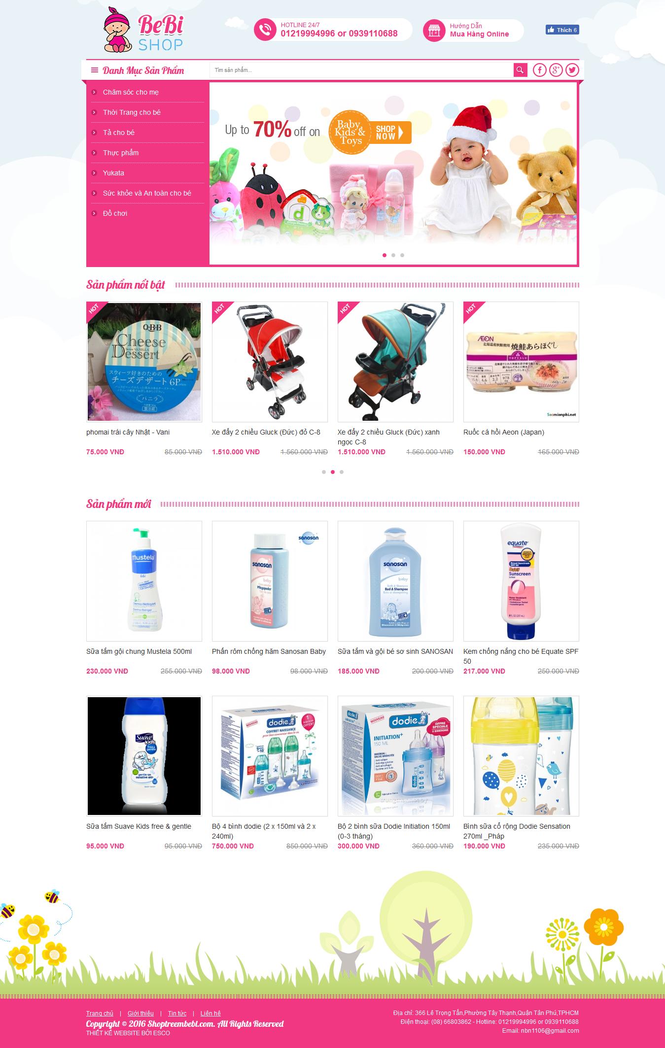 Thiết kế website shop bán hàng Shoptreembebi.com