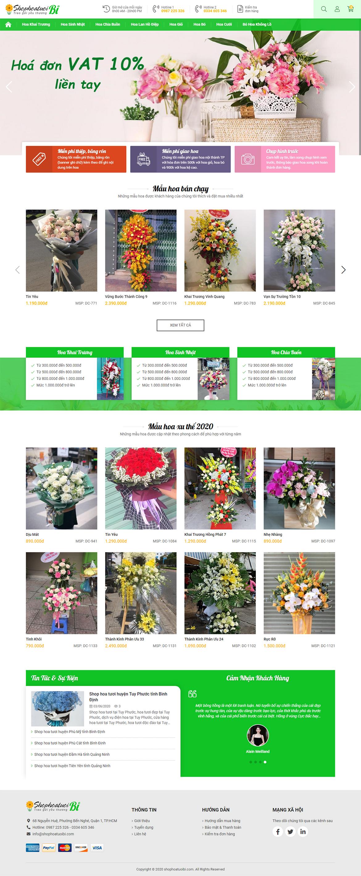 Thiết kế website shop hoa tươi shophoatuoibi.com
