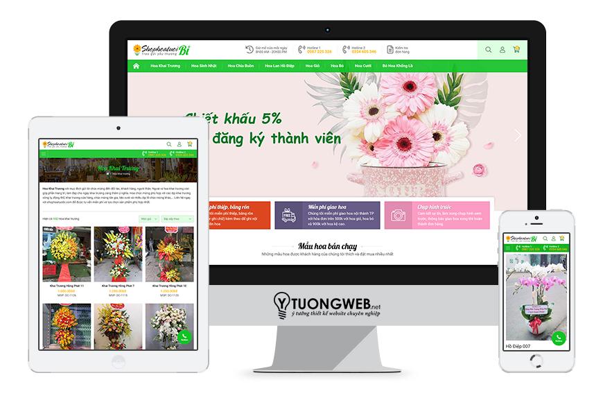 Thiết kế website responsive shop hoa tươi shophoatuoibi.com