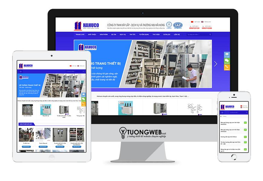 Thiết kế website responsive thiết bị công nghiệp hahuco.com.vn