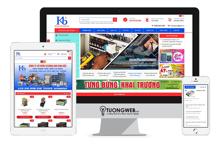 Thiết kế website responsive thiết bị công nghiệp kba.vn