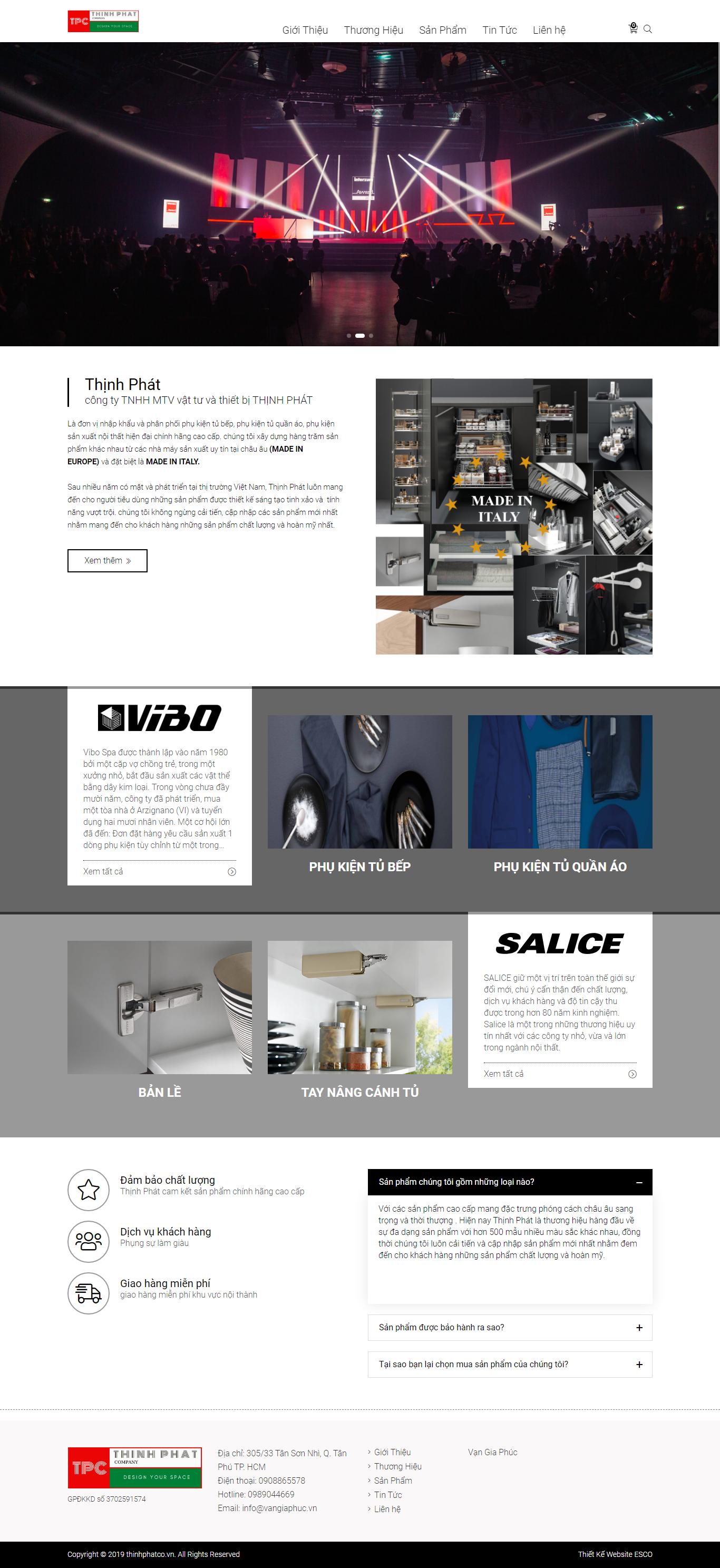 Thiết kế website thiết bị phụ kiện - Thinhphatco.vn