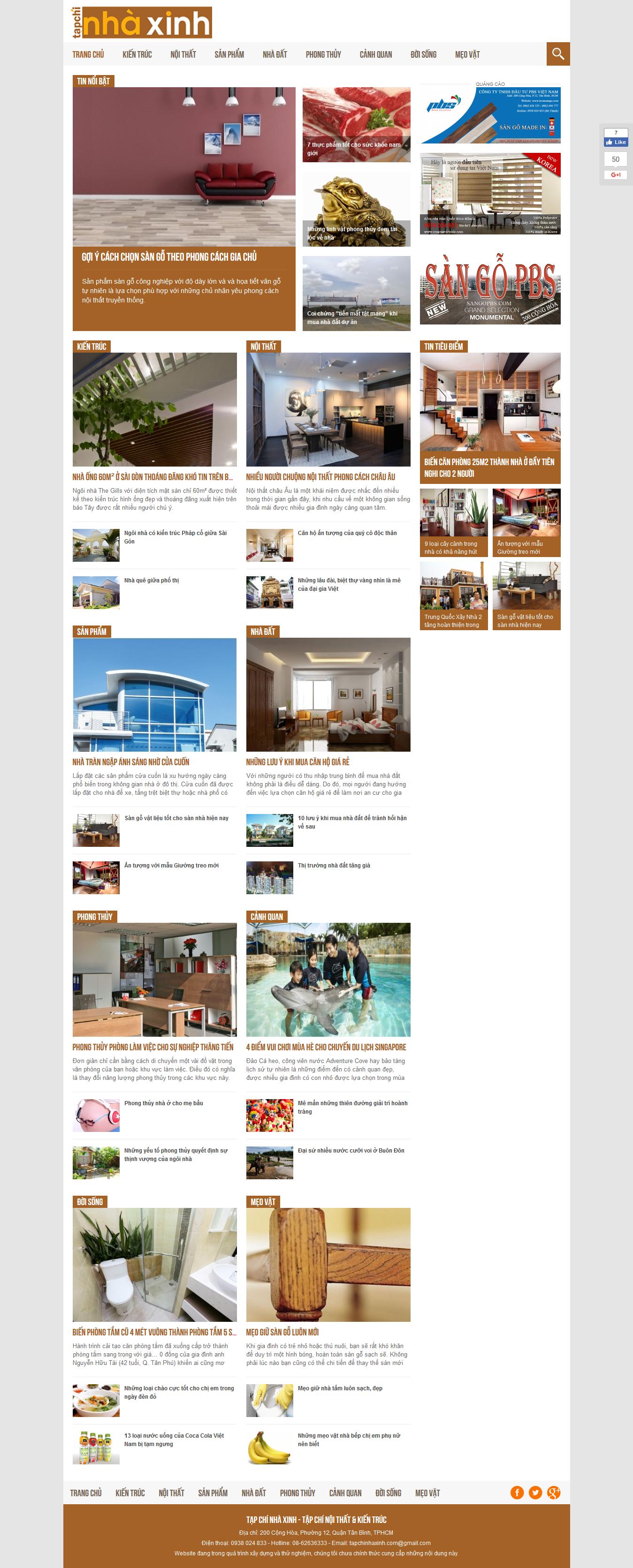 Thiết kế website tin tức tapchinhaxinh.com