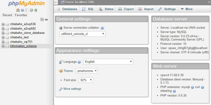danh sách database