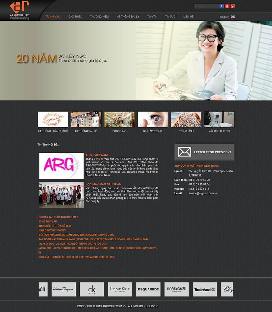 Thiết kế website công ty cổ phần tập đoàn mắt kính ánh ráng argroup.com.vn