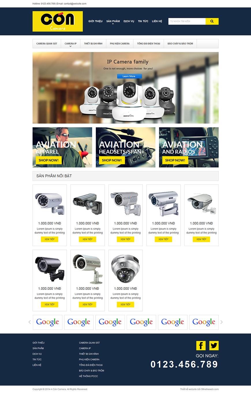 Thiết kế website điện máy điện tử concamera.com