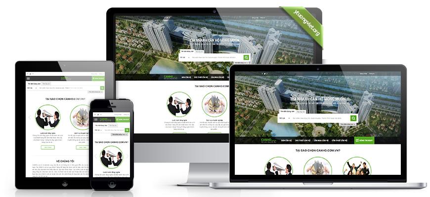 Thiết kế website responsive bất động sản canho.com.vn