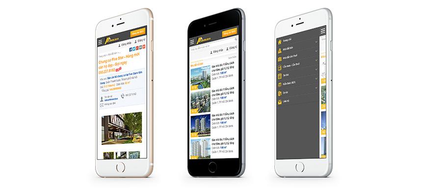 Giao diện di động website raovatbds.com.vn