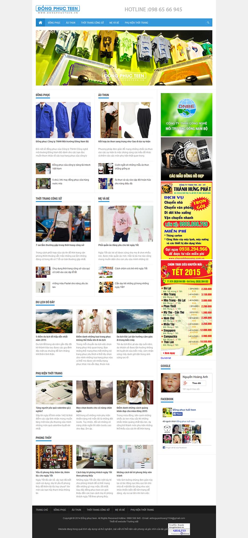 Thiết kế websitte tin tức dongphucteen.vn