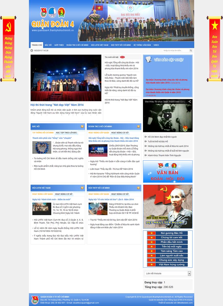 Thiết kế website tin tức Quandoan4.thanhphohochiminh.vn